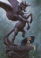Size: 838x1200 | Tagged: alicorn, artist:maggwai, dead source, derpy hooves, featured image, feels, female, floppy ears, holes, mare, pegasus, plinth, pony, princess celestia, rain, rearing, safe, sitting, solo, spread wings, statue, tattered, umbrella, underp, wet, wet mane