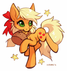 Size: 739x786 | Tagged: applejack, artist:hioshiru, basket, bow, cute, earth pony, female, fluffy, hair bow, heart eyes, jackabetes, mare, missing accessory, pony, safe, simple background, solo, stars, white background, wingding eyes