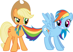 Size: 8296x5932 | Tagged: safe, artist:tryhardbrony, applejack, rainbow dash, the ticket master, absurd resolution, biting, duo, female, mare, simple background, tail, tail bite, transparent background, vector
