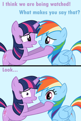 Size: 4000x6000 | Tagged: artist:vexorb, breaking the fourth wall, caption, comic, edit, edited screencap, image macro, meme, rainbow dash, safe, screencap, she knows, they know, twilight sparkle, worried