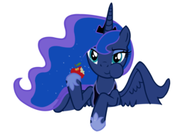 Size: 2600x2000 | Tagged: apple, artist:vexorb, eating, food, luna eclipsed, princess luna, safe, simple background, solo, transparent background, vector