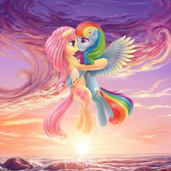 Size: 2400x2400 | Tagged: safe, artist:roadsleadme, fluttershy, rainbow dash, pony, bandage, bandaged wing, cute, daaaaaaaaaaaw, female, floating, flutterdash, hug, injured, lesbian, mare, ocean, open mouth, rock, scenery, shipping