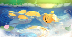 Size: 4884x2500   Tagged: safe, artist:madacon, applejack, earth pony, pony, absurd resolution, belly button, cute, drifting, eyes closed, female, floating, lilypad, mare, newbie artist training grounds, on back, ophelia, relaxing, river, solo, spread out hair, water, wet, wet mane
