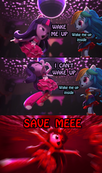 Size: 995x1679   Tagged: safe, edit, edited screencap, screencap, rainbow dash, twilight sparkle, equestria girls, :<>, armpits, bring me to life, clothes, dance off, dancing, disco ball, doll, doom, dress, equestria girls minis, eqventures of the minis, evanescence, eye contact, female, frown, irl, jumping, lidded eyes, looking at each other, open mouth, outstretched arms, photo, song reference, text, toy, trophy, wake me up inside, wat, wide eyes