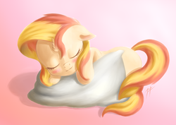 Size: 1024x727 | Tagged: artist:zetamad, blushing, cute, daaaaaaaaaaaw, eyes closed, filly, filly sunset, pillow, pony, prone, safe, shimmerbetes, sleeping, solo, sunset shimmer, unicorn, weapons-grade cute, younger