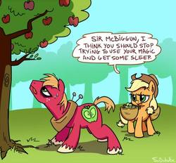 Size: 500x464 | Tagged: safe, artist:foudubulbe, applejack, big macintosh, earth pony, pony, dungeons and discords, dialogue, female, male, mare, speech bubble, stallion, sweet apple acres, tongue out