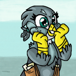 Size: 500x500 | Tagged: safe, artist:mojo1985, gabby, griffon, the fault in our cutie marks, cute, excited, gabbybetes