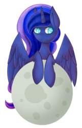 Size: 900x1400 | Tagged: safe, artist:kittenburger3, princess luna, heart eyes, moon, solo, tangible heavenly object, wingding eyes
