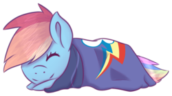 Size: 744x414 | Tagged: safe, artist:kittenburger3, rainbow dash, blanket, cute, dashabetes, eyes closed, simple background, solo, transparent background