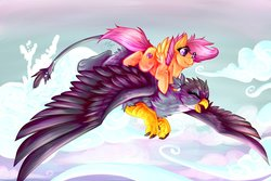 Size: 1092x731 | Tagged: safe, artist:sushimeep, gabby, scootaloo, griffon, pegasus, pony, the fault in our cutie marks, cute, cutealoo, cutie mark, duo, female, filly, flying, gabbybetes, ponies riding griffons, riding, scootaloo riding gabby, scootalove, spread wings, the cmc's cutie marks, wings
