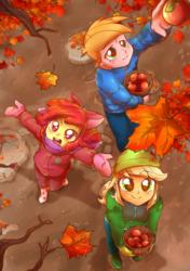 Size: 1000x1419   Tagged: safe, artist:kelsea-chan, apple bloom, applejack, big macintosh, equestria girls, adorabloom, apple, apple siblings, autumn, cute, food, leaves, mud, siblings
