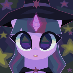 Size: 1280x1280 | Tagged: safe, artist:talentspark, twilight sparkle, pony, unicorn, abstract background, cape, clothes, cute, female, glowing horn, hat, horn, looking at you, open mouth, solo, sorceress, stars, twiabetes, unicorn twilight, witch, witch hat