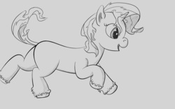 Size: 4000x2500 | Tagged: artist:marchiedraws, filly, filly sunset, monochrome, pony, safe, solo, sunset shimmer, unicorn, younger