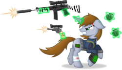Size: 6000x3452 | Tagged: safe, artist:starlessnight22, oc, oc only, oc:littlepip, pony, unicorn, fallout equestria, angry, bandage, blood, clothes, crossover, fanfic, fanfic art, female, floppy ears, glowing horn, grenade, gritted teeth, gun, gunshot, handgun, hooves, horn, levitation, little macintosh, magic, mare, optical sight, pipbuck, pistol, plot, revolver, rifle, running, simple background, solo, teeth, telekinesis, transparent background, vault suit, vector, weapon, zebra rifle