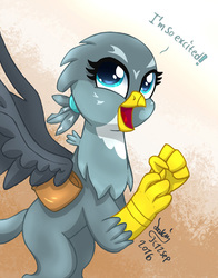 Size: 940x1200 | Tagged: safe, artist:joakaha, gabby, griffon, the fault in our cutie marks, cute, dialogue, excited, female, gabbybetes, open mouth, solo