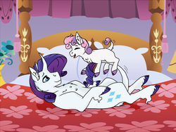 Size: 1280x960 | Tagged: safe, artist:katpocketmonster, rarity, sweetie belle, classical unicorn, pony, unicorn, bed, cloven hooves, cute, female, filly, leonine tail, mare, playing, siblings, sisters, unshorn fetlocks