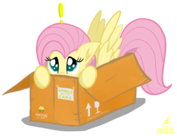 Size: 2200x1700 | Tagged: safe, artist:truffle shine, fluttershy, pony, box, cardboard box, cute, exclamation point, food, hide, hiding, muffin, pony in a box, shyabetes, simple background, transparent background, un packaging codes