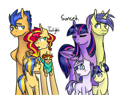 Size: 4000x3000 | Tagged: safe, artist:peppertomb, comet tail, flash sentry, sunset shimmer, twilight sparkle, oc, alicorn, pony, awkward moment, cometlight, flashimmer, male, offspring, parent:comet tail, parent:flash sentry, parent:sunset shimmer, parent:twilight sparkle, parents:cometlight, parents:flashimmer, shipping, straight, twilight sparkle (alicorn)