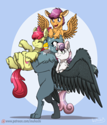 Size: 900x1047   Tagged: safe, artist:inuhoshi-to-darkpen, apple bloom, gabby, scootaloo, sweetie belle, griffon, pony, the fault in our cutie marks, adorabloom, bipedal, carrying, cute, cutealoo, cutie mark, cutie mark crusaders, diasweetes, eyes closed, female, filly, fluffy, gabbybetes, holding a pony, open mouth, patreon, patreon logo, smiling, the cmc's cutie marks, unshorn fetlocks
