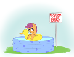 Size: 1945x1508 | Tagged: safe, artist:vanillaghosties, scootaloo, pegasus, pony, cute, female, filly, floaty, fuck the police, gradient background, looking up, sign, smirk, solo, swimming pool