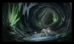 Size: 707x423 | Tagged: dead source, safe, artist:anima-dos, princess celestia, classical unicorn, pony, unicorn, cave, dark, fanfic art, female, leonine tail, pink-mane celestia, race swap, scared, solo, tartarus, tunnel, unicorn celestia, younger