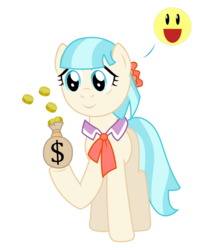 Size: 2169x2719 | Tagged: safe, artist:sketchmcreations, coco pommel, bits, happy, inkscape, money, money bag, simple background, smiley face, tired, transparent background, vector