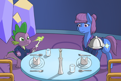 Size: 1200x800   Tagged: safe, artist:sewlde, spike, oc, oc:friendship rainbow, candle, chair, clothes, commission, duo, fire, fork, glass, napkin, plate, smiling, spoon, table, tray, twilight's castle