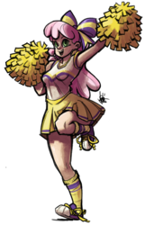 Size: 514x800 | Tagged: safe, artist:theartrix, cheerilee, human, armpits, cheeribetes, cheerileeder, cheerleader, clothes, converse, cute, female, hair bow, humanized, pleated skirt, pom pom, shoes, simple background, skirt, skirt lift, sneakers, socks, solo, transparent background