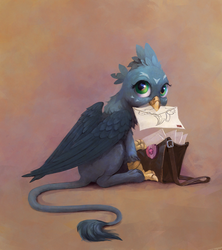 Size: 1280x1443   Tagged: dead source, safe, artist:maggwai, gabby, griffon, the fault in our cutie marks, bag, cute, female, gabbybetes, letter, mouth hold, solo