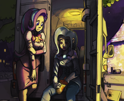 Size: 923x750 | Tagged: safe, artist:theartrix, starlight glimmer, trixie, human, no second prances, camper van, dramatic lighting, humanized, lipstick