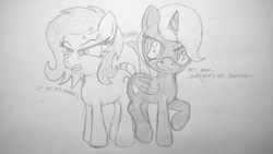 Size: 1314x741   Tagged: artist needed, safe, oc, oc only, oc:anon, oc:filly anon, oc:nyx, alicorn, earth pony, pony, alicorn oc, angry, bump, butt to butt, butts, cutie mark, female, filly, pencil drawing, personal space invasion, smug, traditional art