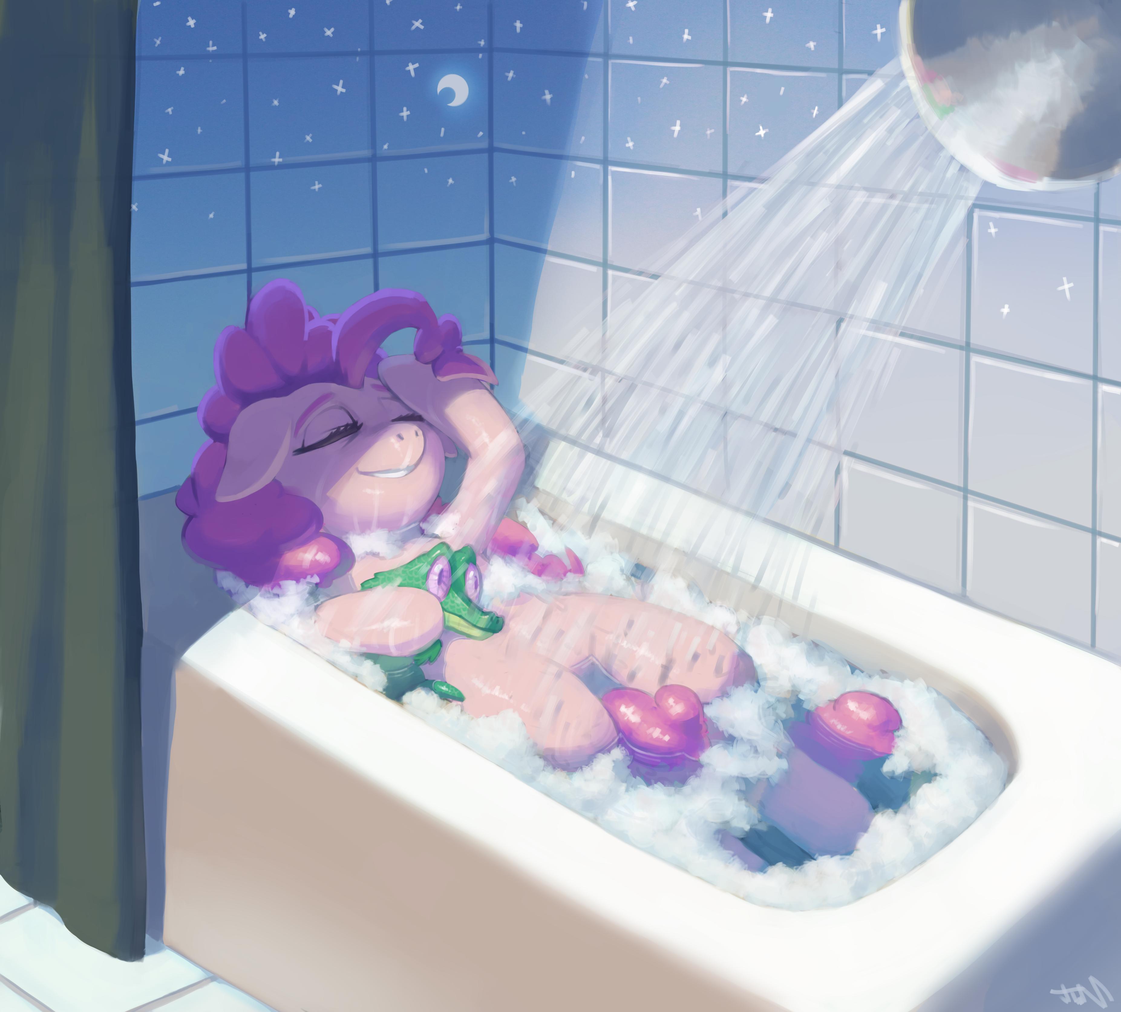 In the bathroom while taking a shower or a well deserved bubble bath -  1250161 Artist Ligerstorm Bath Bathroom Bathtub Bubble Bath Gummy Moon Pinkie Pie Safe Shower Stars Derpibooru My Little Pony Friendship