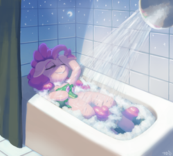 Size: 3706x3345 | Tagged: artist:ligerstorm, bath, bathroom, bathtub, bubble bath, earth pony, eyes closed, female, gummy, mare, moon, pinkie pie, pony, safe, shower, smiling, stars, steam