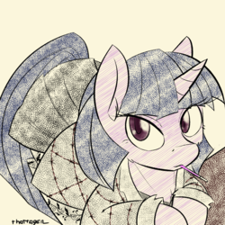 Size: 1000x1000 | Tagged: safe, artist:thattagen, twilight sparkle, alternate universe, clothes, food, jacket, leaning, looking at you, newbie artist training grounds, pleated skirt, pocky, skirt, socks, sockypockytwi, solo, tumblr