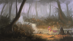 Size: 1920x1080 | Tagged: dead source, safe, artist:shamanguli, fluttershy, firefly (insect), pegasus, pony, bathing, cute, eyes closed, female, forest, mare, outdoors, river, scenery, scenery porn, shyabetes, solo, water, waterfall, wet mane