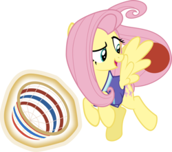 Size: 4531x4000 | Tagged: safe, artist:sollace, fluttershy, pony, buckball season, .svg available, absurd resolution, basket, bottomless, buckball, buckball uniform, clothes, female, magic, open mouth, partial nudity, show accurate, simple background, solo, transparent background, vector