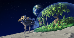 Size: 3567x1838   Tagged: safe, artist:katputze, princess luna, alicorn, pony, biodome, female, garden, glowing horn, hat, magic, moon, planet, smiling, solo, space, sun hat