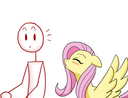 Size: 540x417   Tagged: safe, artist:redanon, fluttershy, oc, oc:anon, human, pegasus, pony, floppy ears, kissy face, simple background, white background