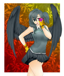 Size: 2300x2700 | Tagged: safe, artist:magico-enma, gabby, human, the fault in our cutie marks, anime, badge, clothes, compression shorts, cute, gloves, humanized, looking at you, miniskirt, open mouth, pleated skirt, shorts, skirt, skirt lift, solo, winged humanization