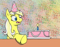 Size: 1350x1062 | Tagged: safe, artist:man-eating-llama, oc, oc only, oc:ersatz yellow, cake, candle, food, hat, party hat, solo
