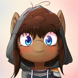 Size: 800x800 | Tagged: safe, artist:hoodie, oc, oc only, oc:latch, blushing, bust, clothes, cute, gradient background, hoodie, looking at you, portrait, smiling, solo