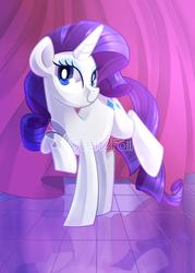 Size: 2000x2800   Tagged: safe, artist:drawntildawn, rarity, pony, unicorn, curtain, female, raised hoof, solo, watermark