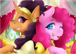 Size: 4092x2893 | Tagged: safe, artist:pillonchou, pinkie pie, saffron masala, spice up your life, chef, clothes, cute, duo, ear piercing, indian, it's gonna work, open mouth, piercing, the tasty treat, wink