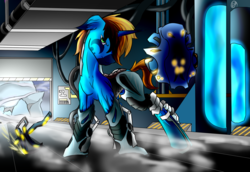 Size: 1600x1100 | Tagged: safe, artist:dragonsponies, oc, oc only, oc:arc-bolt, pony, unicorn, armor, axe, crossover, shield, solo, weapon