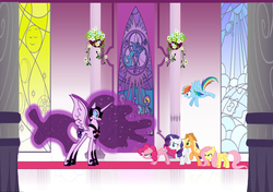 Size: 1803x1266 | Tagged: safe, artist:arkwing, applejack, fluttershy, pinkie pie, rainbow dash, rarity, twilight sparkle, alicorn, pony, betrayal, corrupted, ethereal mane, feels, mane six, nightmare twilight, nightmarified, shocked, starry mane, this will end in tears and/or death, twilight is anakin, twilight sparkle (alicorn), twilight vs mane 5, tyrant sparkle