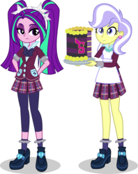 Size: 2149x2713 | Tagged: safe, artist:punzil504, aria blaze, upper crust, equestria girls, friendship games, rainbow rocks, birthday cake, cake, clothes, crystal prep academy, crystal prep academy uniform, crystal prep shadowbolts, dessert, duo, food, high heels, leggings, pigtails, plate, pleated skirt, school uniform, shoes, simple background, skirt, socks, transparent background, twintails, vector