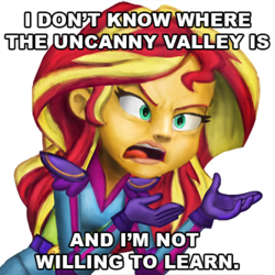 Size: 500x500 | Tagged: safe, artist:mentalmongloid, sunset shimmer, equestria girls, friendship games, image macro, meme, meta, sunset is not willing to learn, text, uncanny valley