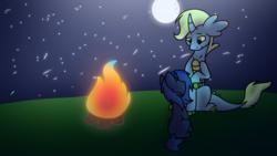 Size: 1280x720   Tagged: safe, artist:miocrapychaos, oc, oc only, oc:bonfire, oc:starlight blossom, bonfire, fire, moon, night, sitting, stars