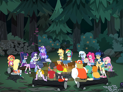 Size: 712x534   Tagged: safe, screencap, applejack, bulk biceps, derpy hooves, drama letter, flash sentry, fluttershy, pinkie pie, princess luna, rainbow dash, rarity, sci-twi, snails, snips, spike, spike the regular dog, sunset shimmer, timber spruce, trixie, twilight sparkle, vice principal luna, watermelody, dog, equestria girls, legend of everfree, axe, background human, campfire, converse, layering fail, shoes, weapon, wood