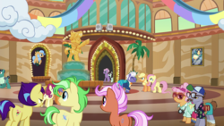 Size: 1920x1080 | Tagged: safe, screencap, applejack, butterscotch sweets, chargrill breadwinner, country mile, dusty swift, fiery fricket, fluttershy, gladmane, horseshoe comet, lock heart, rosy pearl, saturn (character), sprout greenhoof, earth pony, pegasus, pony, unicorn, viva las pegasus, female, las pegasus resident, male, mare, stallion, tourist